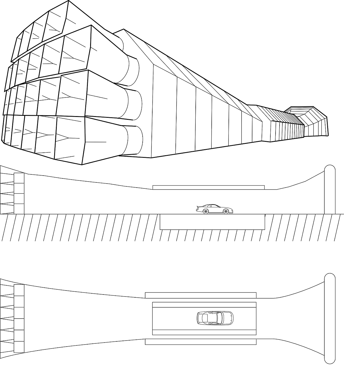 Zeichnung eines Windtunnels